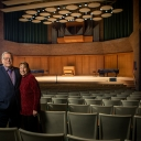 Nancy Schaffel, right, and Neil Schaffel in Rosen Concert Hall on Appalachian State University's campus. Photo by Marie Freeman