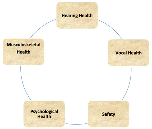 hearing health - vocal health - safety - psychological health - musculoskeletal health