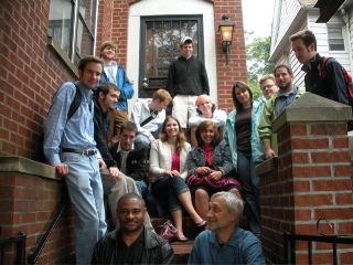 Jazz students and faculty on the steps of Louis Armstrong's house in Queens, NY