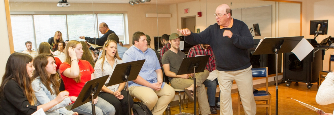 Hayes School of Music faculty member and students in rehearsal