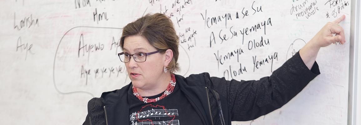 Professor Suzi Mills at whiteboard
