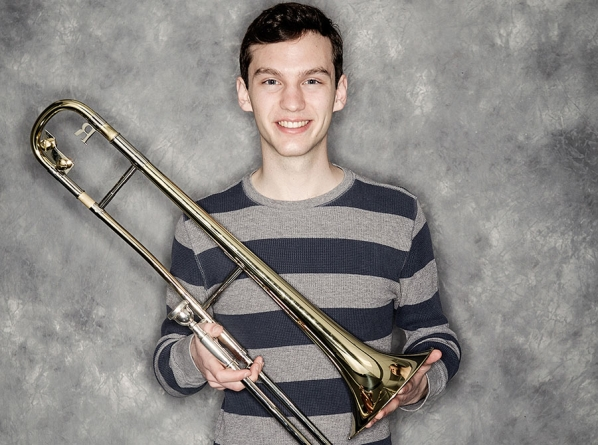 Smith with trombone